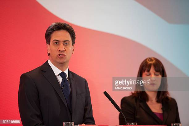 London UK Wednesday 29th April 2015 Labour Party Leader Ed Miliband and Shadow Secretary of State for Work and Pensions Rachel Reeves at a General...