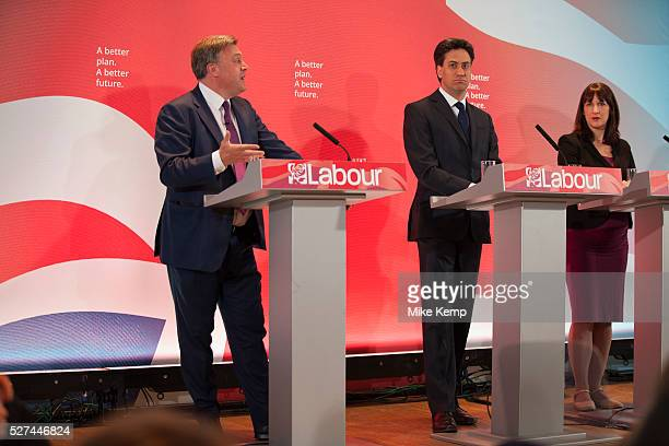 London UK Wednesday 29th April 2015 Labour Party Leader Ed Miliband Shadow Chancellor Ed Balls and Shadow Secretary of State for Work and Pensions...