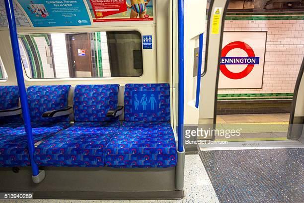 London Underground carriage interior at Kennington station London England