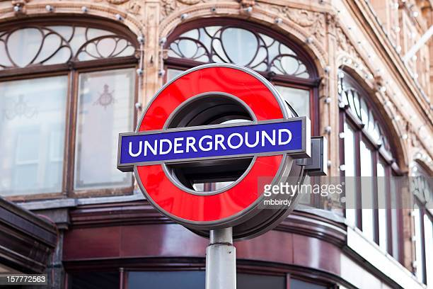 London Underground famous sign in front of Harrods department store