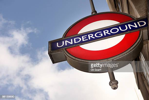 London Underground sign hangs outside St James's Park station on March 30 2010 in London England London Underground workers are to be balloted for...