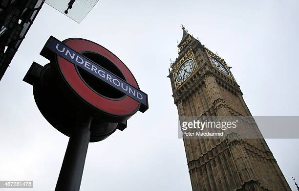 London Underground sign stands near Parliament on April 29 2014 in London England Union members are striking for 48 hours in a dispute over...