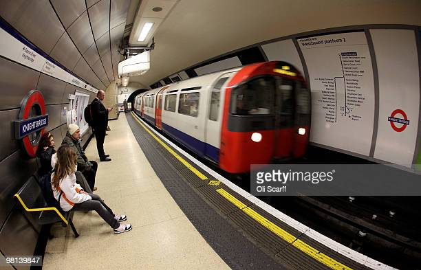 London Underground train arrives in Knightsbridge station on March 30 2010 in London England London Underground workers are to be balloted for strike...