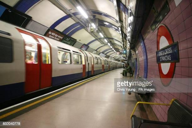 A London Underground train leaves Kings Cross Station