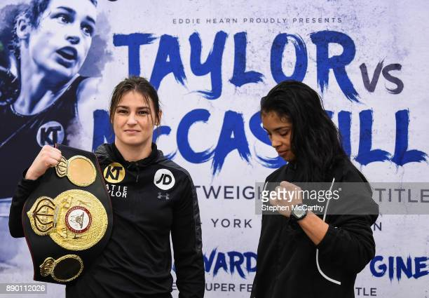 London United Kingdom 11 December 2017 Katie Taylor left and Jessica McCaskill square off following a press conference at the Courthouse Hotel in...