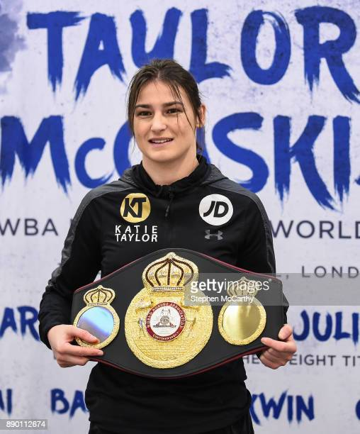 London United Kingdom 11 December 2017 Katie Taylor poses with her WBA Lightweight World Title following a press conference at the Courthouse Hotel...