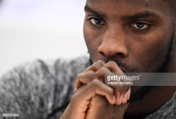 London United Kingdom 11 December 2017 Lawrence Okolie during a press conference at the Courthouse Hotel in Shoreditch London ahead of his undercard...