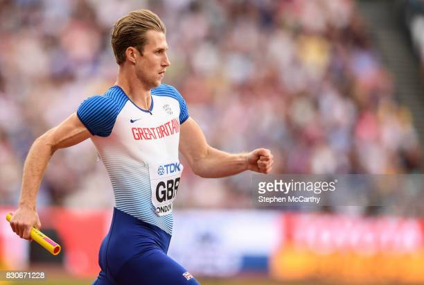 London United Kingdom 12 August 2017 Jack Green of Great Britain competes in round one of the Men's 4x400m Relay event during day nine of the 16th...