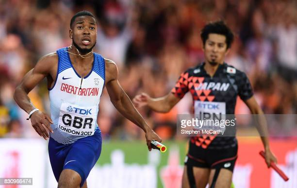 London United Kingdom 12 August 2017 Nethaneel MitchellBlake running the anchor leg for his Great Britain team after crossing the line to win the...