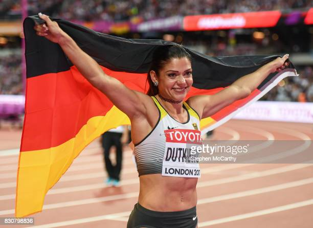 London United Kingdom 12 August 2017 Pamela Dutkiewicz of Germany after finishing third in the final of the Women's 100m Hurdles event during day...