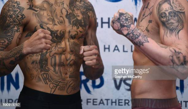London United Kingdom 12 December 2017 A detailed view of the tatoos on the body of boxers Conor Benn and Cedrick Peynaud as their weigh in at the...