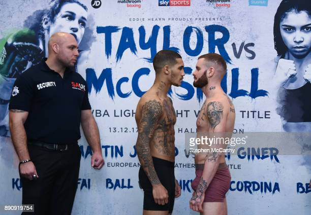London United Kingdom 12 December 2017 Conor Benn and Cedrick Peynaud square off after their weigh in at the Courthouse Hotel in Shoreditch London...