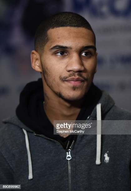 London United Kingdom 12 December 2017 Conor Benn speaks to media prior to weighing in at the Courthouse Hotel in Shoreditch London ahead of his...