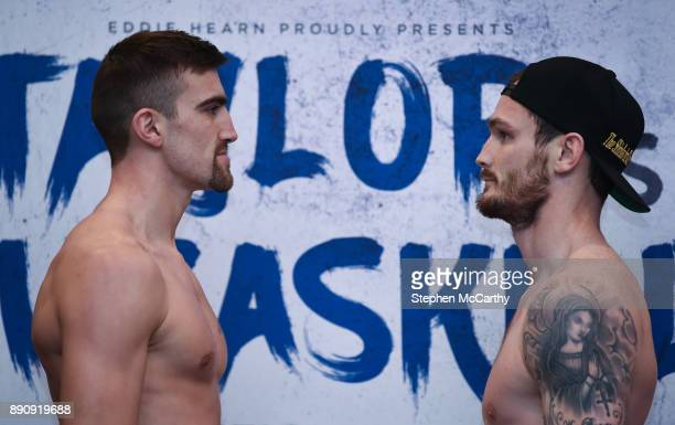 London United Kingdom 12 December 2017 Jake Ball left and Miles Shinkwin square off after weighing in at the Courthouse Hotel in Shoreditch London...