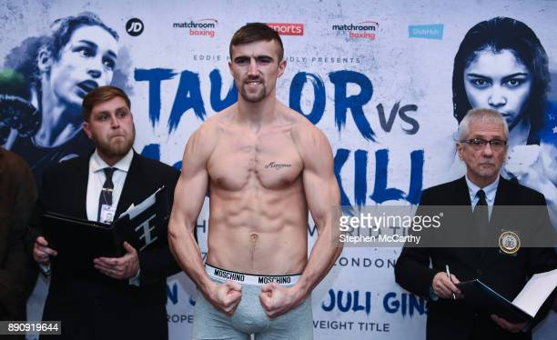 London United Kingdom 12 December 2017 Jake Ball weighs in at the Courthouse Hotel in Shoreditch London ahead of his vacant WBA InterContinental...