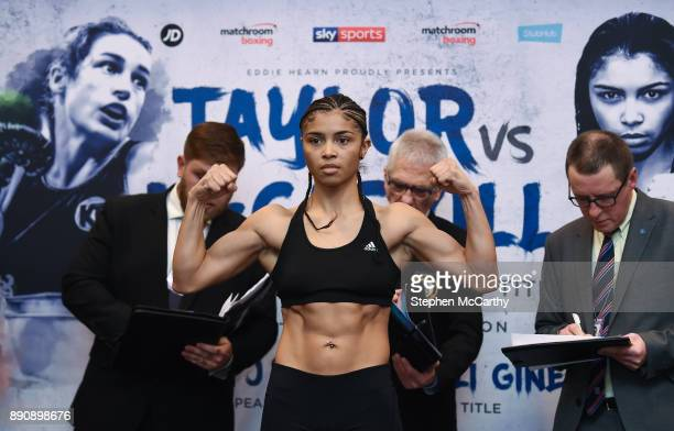 London United Kingdom 12 December 2017 Jessica McCaskill weighs in at the Courthouse Hotel in Shoreditch London ahead of her WBA Lightweight World...