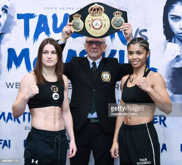 London United Kingdom 12 December 2017 Katie Taylor and Jessica McCaskill square off after weighing in at the Courthouse Hotel in Shoreditch London...