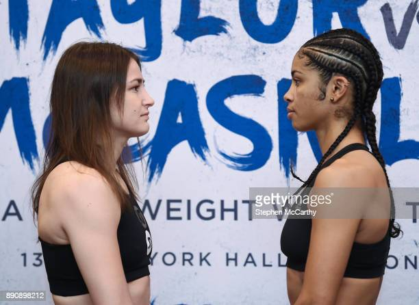 London United Kingdom 12 December 2017 Katie Taylor left and Jessica McCaskill square off after weighing in at the Courthouse Hotel in Shoreditch...