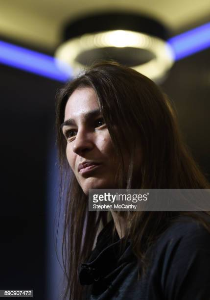London United Kingdom 12 December 2017 Katie Taylor speaks to media after weighing in at the Courthouse Hotel in Shoreditch London ahead of her WBA...