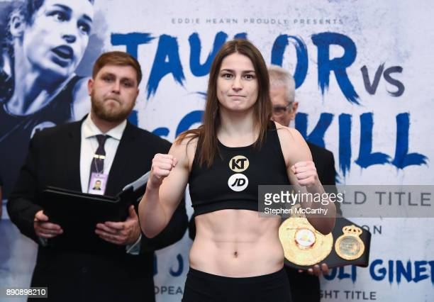 London United Kingdom 12 December 2017 Katie Taylor weighs in at the Courthouse Hotel in Shoreditch London ahead of her WBA Lightweight World Title...