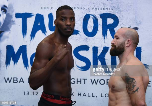 London United Kingdom 12 December 2017 Lawrence Okolie left and Antonio Sousa square off after weighing in at the Courthouse Hotel in Shoreditch...
