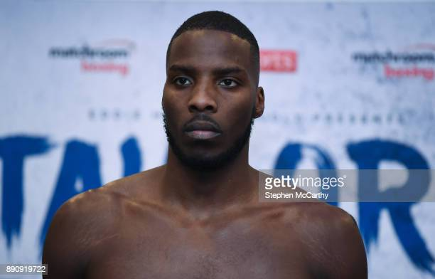 London United Kingdom 12 December 2017 Lawrence Okolie weighs in at the Courthouse Hotel in Shoreditch London ahead of his cruiserweight bout against...
