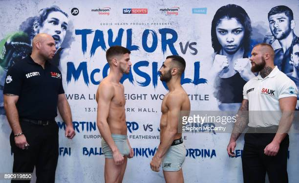 London United Kingdom 12 December 2017 Martin Ward left and Juli Giner square off after weighing in at the Courthouse Hotel in Shoreditch London...