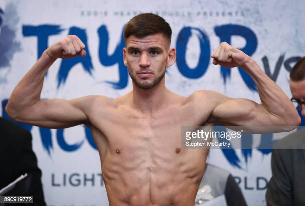 London United Kingdom 12 December 2017 Martin Ward weighs in at the Courthouse Hotel in Shoreditch London ahead of his vacant European Super...