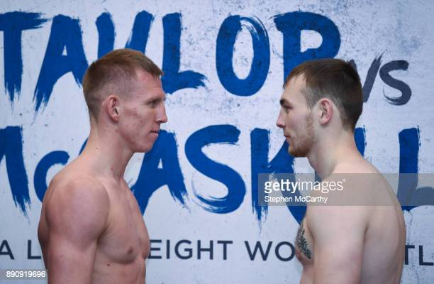 London United Kingdom 12 December 2017 Ted Cheeseman left and Tony Dixon square off after weighing in at the Courthouse Hotel in Shoreditch London...