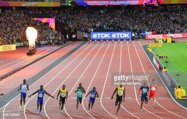 London United Kingdom 5 August 2017 Reece Prescod of Great Britain Justin Gatlin of the United States Yohan Blake of Jamaica Akani Simbine of South...