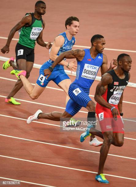 London United Kingdom 7 August 2017 Athletes from left Sydney Siame of Zambia Filippo Tortu of Italy Jeremy Dodson of Samoa and Kyle Greaux of...
