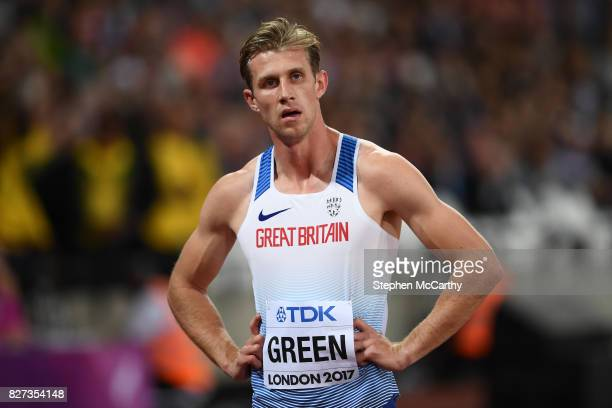 London United Kingdom 7 August 2017 Jack Green of Great Britain reacts following the semifinals of the Men's 400m Hurdles event during day four of...