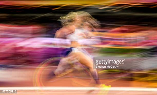 London United Kingdom 8 August 2017 Meghan Beesley of Great Britain during her semifinal of the Women's 400m Hurdles event during day five of the...