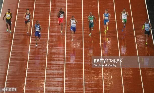 London United Kingdom 9 August 2017 Athletes from left Rasheed Dwyer of Jamaica Shota Iizuka of Japan Isiah Young of the USA Kyle Greaux of Trinidad...