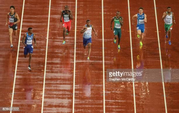 London United Kingdom 9 August 2017 Athletes from left Shota Iizuka of Japan Isiah Young of the USA Kyle Greaux of Trinidad Tobago Neethaneel...