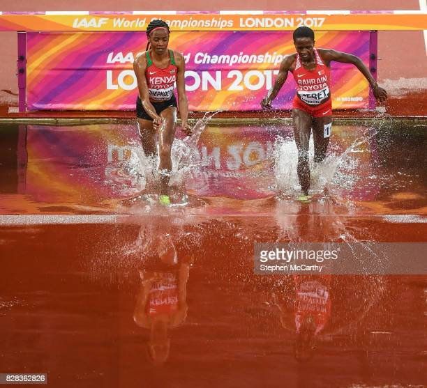 London United Kingdom 9 August 2017 Beatrice Chepkoech of Kenya left and Ruth Jebet of Bahrain during round one of the Women's 3000m Steeplechase...