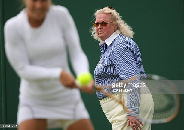 A line referee is pictured during Italian Francesca Schiavone vs Anne Kremer of Luxembourg 2nd round of the Wimbledon Tennis Championships in...