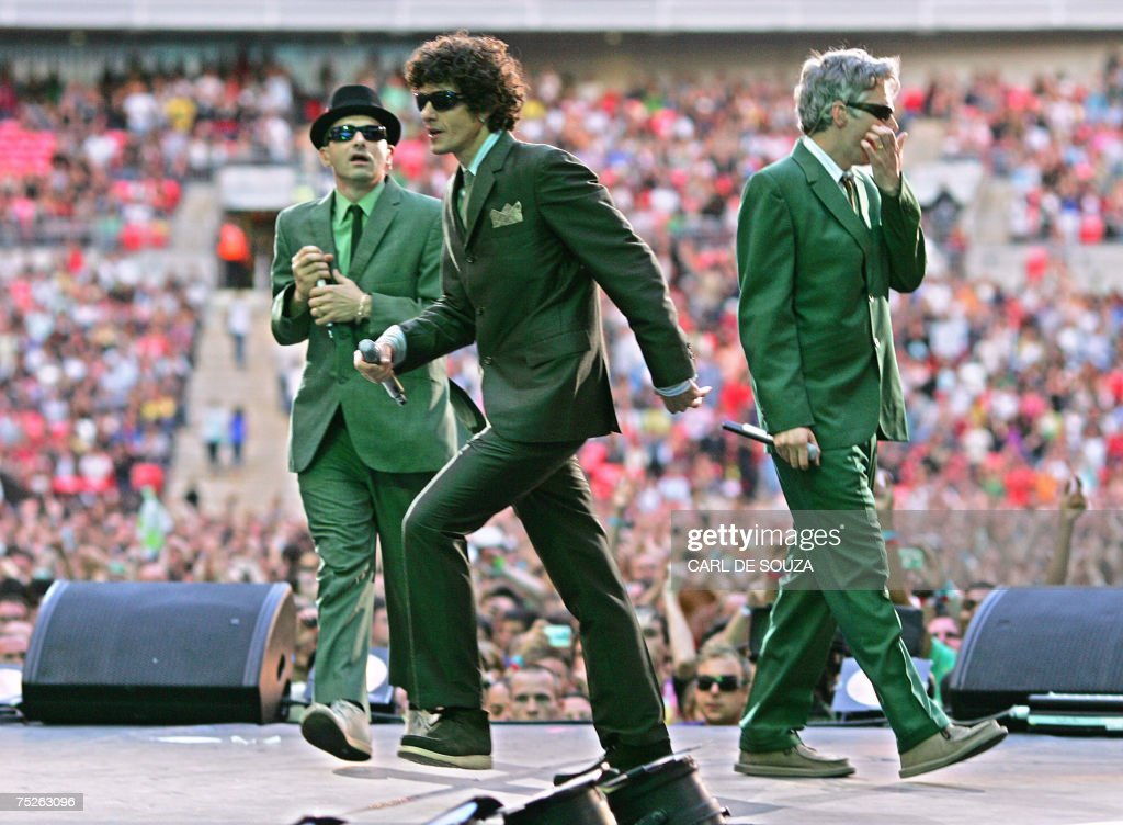 Adam Horvitz Mike Diamond and Adam Yauch of US band Beastie Boys performs at the Live Earth concert at Wembley stadium in London 07 July 2007 AFP...