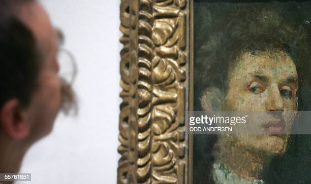 An art critic eyes Edvard Munch's 'Self portrait' hanging in the Royal Academy of Arts in London 27 September 2005The exhibition 'Edvard Munch by...
