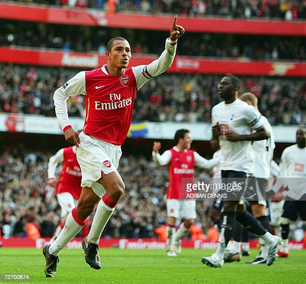 Arsenal's Captain Gilberto Silva celebrates scoring his second penalty and their third goal against Tottenham Hotspur during the Premiership football...