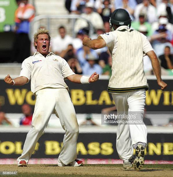 Australias Shane Warne celebrates after taking the wicket of Englands Andrew Flintoff on the fifth day of the fifth and final NPower Ashes Test match...