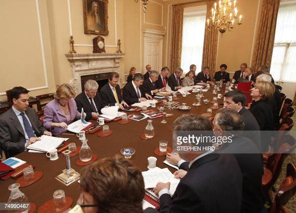 Britain's Prime Minister Gordon Brown chairs the weekly Cabinet meeting in 10 Downing Street in central London 03 July 2007 British Prime Minister...