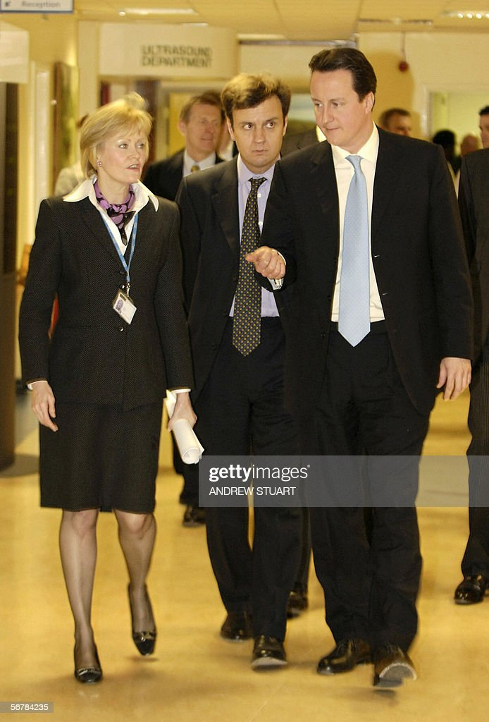 David Cameron leader of the British opposition Conservative Party talks with Greg Hands MP for Hammersmith and Fulham and Anne Eden Deputy Chief...