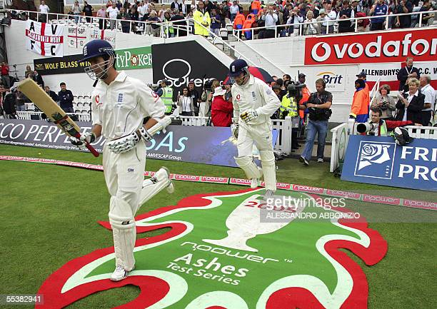 England captain Michael Vaughn and Marcus Trescothick come out to bat against Australia on the fifth day of the fifth and final NPower Ashes Test...