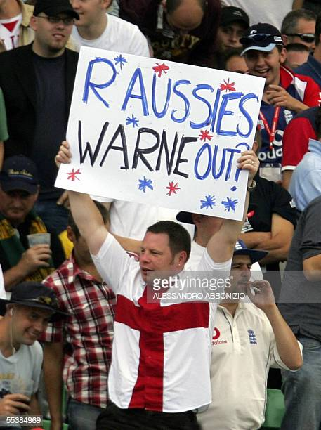 England fans taunt Australian fans on the fifth day of the fifth and final NPower Ashes Test match at the Oval cricket ground in London 12 September...