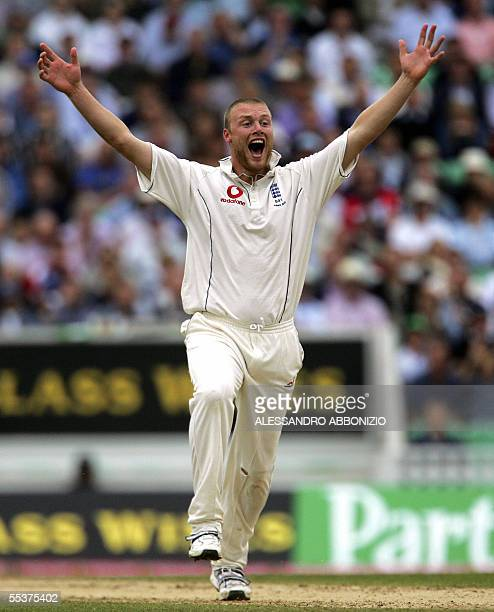 Englands Andrew Flintoff appeals successfully for the wicket of Australias Matthew Hayden on the fourth day of the fifth and final NPower Ashes Test...
