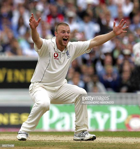 Englands Andrew Flintoff appeals successfully for the wicket of Australias Simon Katich for 1 run on the fourth day of the fifth and final NPower...