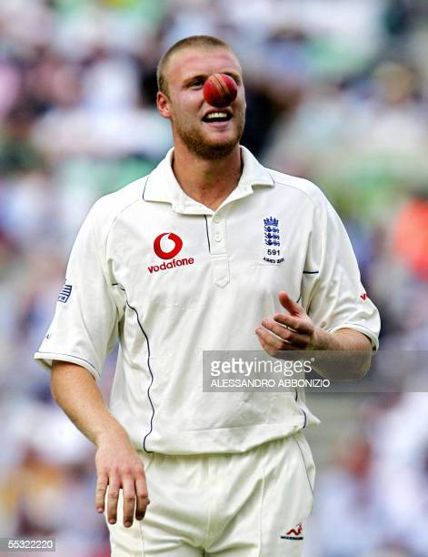 England's Andrew Flintoff prepares to bowl against Australia on the second day of the fifth and final NPower Ashes Test match at the Oval cricket...