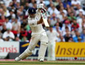 England's captain Michael Vaughan plays a shot against Australia during the fifth day of the 5th Test Match in The Ashes at The Oval in London 12...
