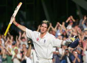 England's Kevin Pietersen acknowledges the crowd as he leaves the field after being bowled out for 158 against Australia during the fifth day of the...